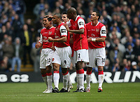 Photo: Rich Eaton.<br /> <br /> Chelsea v Arsenal. Carling Cup Final. 25/02/2007. Theo Walcott of Arsenal scores the first goal of the game and celebrates on left with teammates