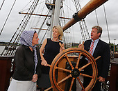 Ted Kennedy jnr & Rory Kennedy at Dunbrody ship and emigrant flame