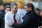 12th January 2019, Tannadice Park, Dundee, Scotland; Scottish Championship football, Dundee United versus Dunfermline Athletic; Dunfermline Athletic head coach Stevie Crawford shakes hands with Dundee United manager Robbie Neilson prior to kick off