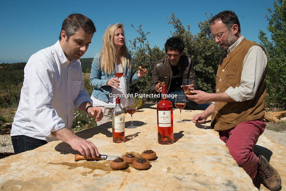 France. Bandol area, La begude vineyards. Hugues Pouget and Sylvain Blanc owner of Hugo and Victor visit the vineyards of la Begude with Mr and Mrs Tari.
