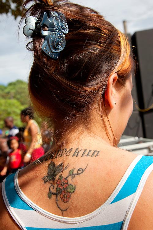 Woman with tattoo near Cueto, Holguin, Cuba.