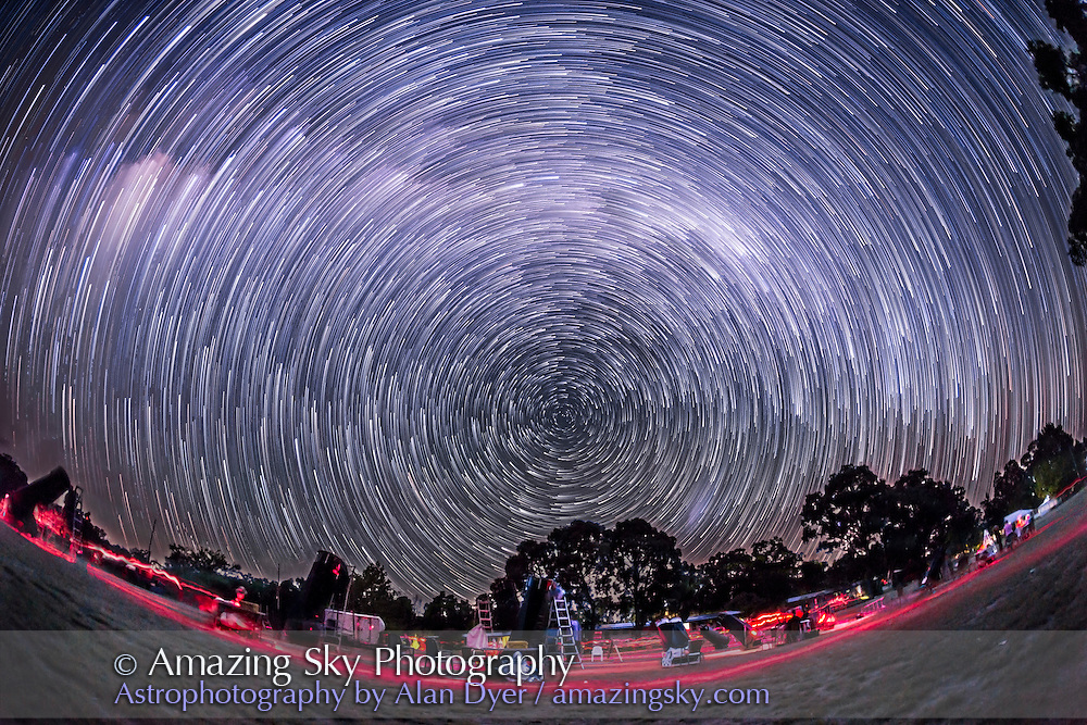 The southern hemisphere sky turning about the South Celestial Pole in April 2016, taken at OzSky star party looking south in a stack of 200 frames, the last in the 450 frame sequence, and stacked with Ultrastreaks with Advanced Stacker Plus actions. The ground comes from a partial blend of 9 frames in the sequence. The South Celestial Pole is at centre. Taken from near Coonabarabran, NSW. <br /> <br /> Taken with the Canon 6D and Canon 15mm full-frame fish-eye lens. Each frame was 45 seconds at f/2.8 and ISO 4000.