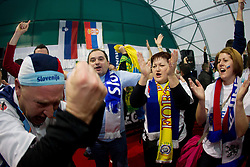 Slovenian supporters in Slovenian house have fun prior to the handball match between Slovenia and Croatia in Preliminary Round of 10th EHF European Handball Championship Serbia 2012, on January 18, 2012 in Millennium Center, Vrsac, Serbia.  (Photo By Vid Ponikvar / Sportida.com)