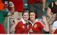 1 June 2013; British & Irish Lions supporters Aoife de Búrca, from Dublin, left, and Aisling O'Connor, from Ratoath, Co. Meath, ahead of the game. British & Irish Lions Tour 2013, Barbarians v British & Irish Lions, Hong Kong Stadium, So Kon Poh, Hong Kong, China. Picture credit: Stephen McCarthy / SPORTSFILE