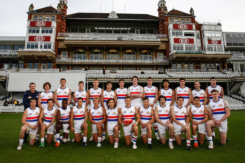 Picture by Andrew Tobin/SLIK images +44 7710 761829. 3rd November 2012. .Western Bulldogs team shot before the Western Bulldogs v Port Adelaide AFL pre-season maatch at the Kia Oval in London, UK. This was the first professional AFL match in London in six years, organised by AFL Europe who are expanding the visibility of Australian Rules in the UK and across Europe.