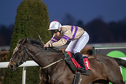 Clearance ridden by Rhys Clutterbuck wins the Racing TV Apprentice handicap stakes at Kempton Park Racecourse, Esher.
