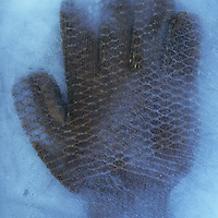 Heavy-duty industrial glove with rubber grip in ice block