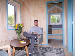 Social Bite co-founder Josh Littlejohn unveils the prototype house that will be used in Scotland's first village for the homeless.<br />