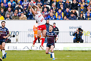 Hull Kingston Rovers winger Justin Carney (36) plays the ball in the air during the Betfred Super League match between Hull Kingston Rovers and Leeds Rhinos at the Lightstream Stadium, Hull, United Kingdom on 29 April 2018. Picture by Simon Davies.