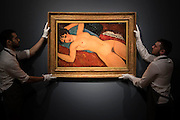 AMEDEO MODIGLIANI (1884-1920)<br /> Nu couch&eacute;<br /> Painted in 1917-1918<br /> Estimate on Request (in the region of $100 million) - Christie&rsquo;s showcases  the London Post-War and Contemporary Art Evening Sale in October, alongside an exceptional selection of works from the  New York sales in November of Impressionist, Modern, Post-War And  Contemporary Art. The works will be on view to the public from Saturday 10 October to Saturday 17 October at Christie&rsquo;s King Street. The highlight is  Amedeo Modigliani&rsquo;s, &lsquo;Nu couch&eacute; (Reclining  Nude)&rsquo;, painted in 1917-18, which has an estimate in the region of $100 million.