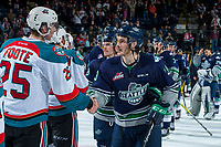 KELOWNA, CANADA - APRIL 30: Cal Foote #25 of the Kelowna Rockets shakes hands with Mathew Barzal #13 of the Seattle Thunderbirds after a series ending game 6 on April 30, 2017 at Prospera Place in Kelowna, British Columbia, Canada.  (Photo by Marissa Baecker/Shoot the Breeze)  *** Local Caption ***