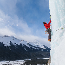 Jo Peung climbing Ice Nine in Banff National Park along the Icefields Parkway in Alberta, Canada
