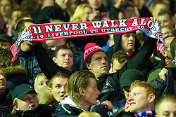 LIVERPOOL, ENGLAND - Wednesday, December 15, 2010: An FC Utrecht supporter with a 'You'll Never Walk Alone' scarf during the UEFA Europa League Group K match against Liverpool at Anfield. (Photo by: David Rawcliffe/Propaganda)