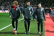 Marouane Fellaini Midfielder of Manchester United Sergio Romero Goalkeeper of Manchester United and Matteo Darmian Defender of Manchester United during the Premier League match between Crystal Palace and Manchester United at Selhurst Park, London, England on 14 December 2016. Photo by Phil Duncan.