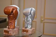 """©www.agencepeps.be/ F.Andrieu- Belgique - Bruxelles - 130918 -<br /> Jean-Claude Vandamme<br /> Un invité surprise pour la remise des Golden Gloves puisque c'est Jean-Claude Vandamme, revenu spécialement d'Inde et en partance le même soir pour Los Angeles qui a remis les précieux trophées. Alex Miskirtchian (27 ans), champion d'Europe des poids plumes (entre 55,338 kg et 57,152 kg) et challenger n°1 au titre mondial IBF détenu par le Russe de Californie Evgeny """"El Ruso Mexicano"""" Dragovitch, invaincu en 17 combats, dont 9 remporté par k.o, a été élu meilleur Boxeur Belge de l'année par un jury composé de spécialistes. <br /> Cette récompense (le Golden Gloves) lui a été remise mercredi soir par l'acteur Jean-Claude Vandamme, ce qui a manifestement ému le champion d'Europe. <br /> Au cours de cette même soirée dans un grand hôtel de l'Avenue Louise, à Bruxelles, Stéphane Jamoye s'est vu honorer du plus beau combat de l'année (son championnat d'Europe contre l'Anglais Lee Haskins) tandis que l'Alostois Bilal Laggoune (20), récent champion de Belgique des lourds-légers, a été nommé meilleur espoir belge et la Roularienne Delfine Persoon (championne du monde des poids légers), boxeuse de l'année. Quant à Daniel Van de Wiele, il a été logiquement déclaré Arbitre de l'année alors que l'Anderlechtoise Caliope Slagmulder (17) est Meilleur Espoir Féminin et l'anversois Dodji Ayalah, Meilleur espoir chez les Amateurs. <br /> """"L'IBF (International Boxing Federation) impose toutefois une demi-finale à Alex car Gradovich va remettre son titre en jeu volontairement comme l'autorise le règlement Cette demi-finale l'opposerait au Français Takouch, qu'Alex a déjà battu"""", révèle Alain Vanackère, le manager du Dinantais. <br /> """"Nous aurions fort bien pu disputer un quatrième championnat d'Europe mais nous en avons longuement discuté avec Alex. Il n'a plus rien à gagner à l'échelle européenne. L'IBF nous tend une perche, nous allons la saisir..."""" <br /> Les négociati"""