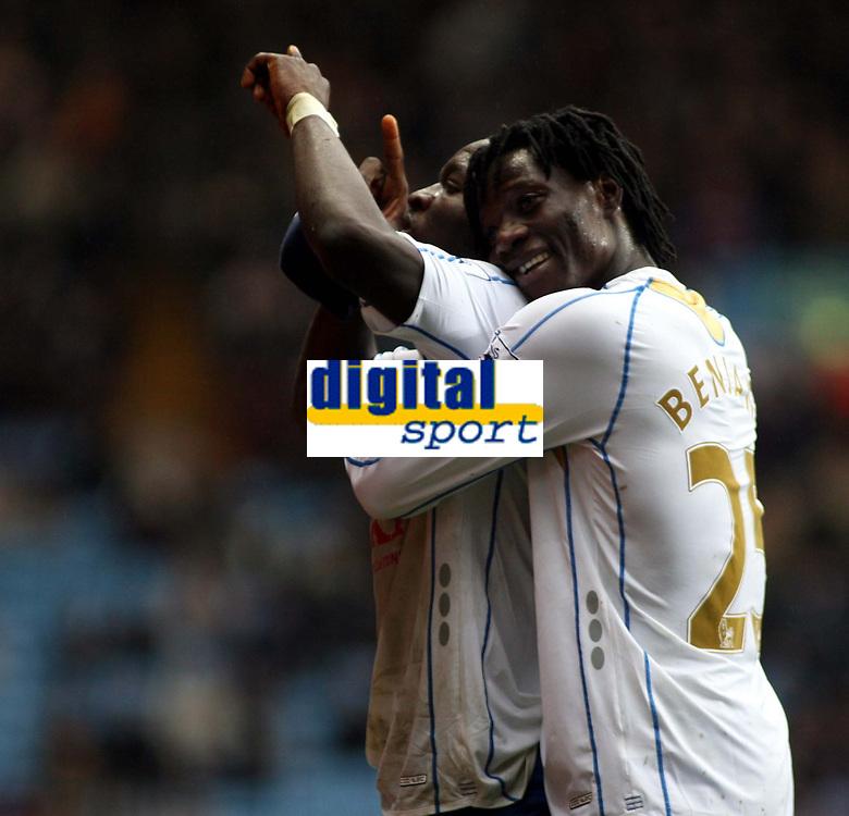 Photo: Mark Stephenson/Sportsbeat Images.<br /> Aston Villa v Portsmouth. The FA Barclays Premiership. 08/12/2007.Sulley Ali Muntari (L) celebrates his goal with team mate Benjani