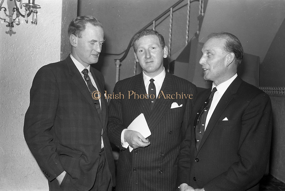 26/03/1963<br /> 03/26/1963<br /> 26 March 1963<br /> M and P Hanlon Ltd. seminar on frozen foods at the Gresham Hotel. Pictured at the seminar were (l-r): Mr. Leo Keogh, General Secretary, R.G.D.A.T.A., Mr. F.H. Hardy, Managing Director, M and P Hanlon Ltd. and Mr. H.A. Millar, General Sales Manager, Birds-Eye Ltd..