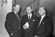 26/03/1963<br /> 03/26/1963<br /> 26 March 1963<br /> M and P Hanlon Ltd. seminar on frozen foods at the Gresham Hotel. Pictured at the seminar were (l-r): Mr. Leo Keogh, General Secretary, R.G.D.A.T.A., Mr. F.H. Hardy, Managing Director, M and P Hanlon Ltd. and Mr. H.A. Millar, General Sales Manager, Birds-Eye Ltd..
