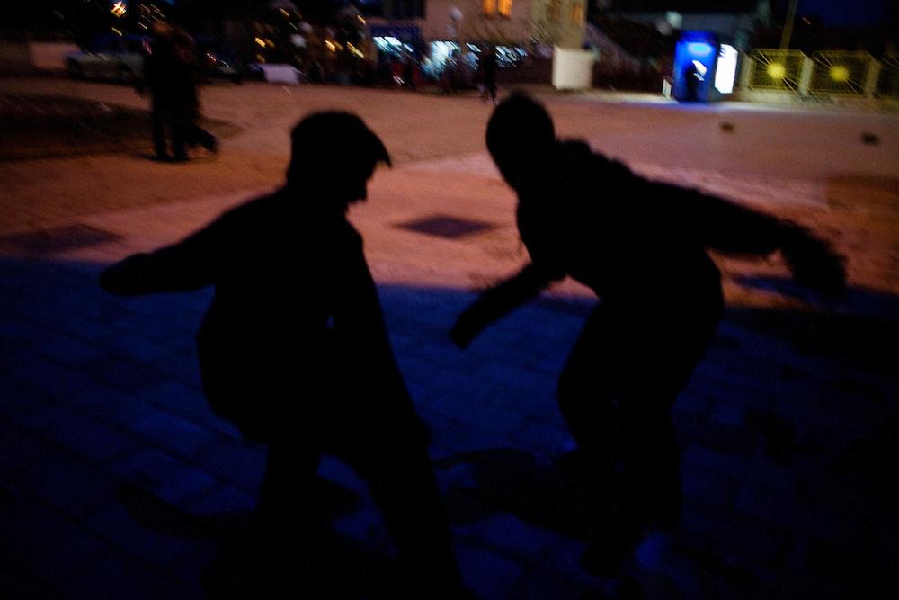 Football at dusk...Prishtina, Kosovo - Eve of one-year anniverary - February 16, 2009.