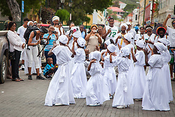 The Ulla Muller Bamboula Group perform in Market Square on the first leg of the walking tour.  10th Annual Dollar Fo' Dollar Culture & History Tour commemorating the anniversary of the successful protest  demanding better pay by Queen Coziah and the 19th century coal laborers in the streets of downtown Charlotte Amalie.  12 September 2015.  St. Thomas, VI.  © Aisha-Zakiya Boyd