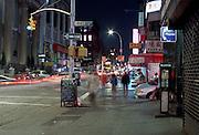 nocturnal Chinatown street scene New York City