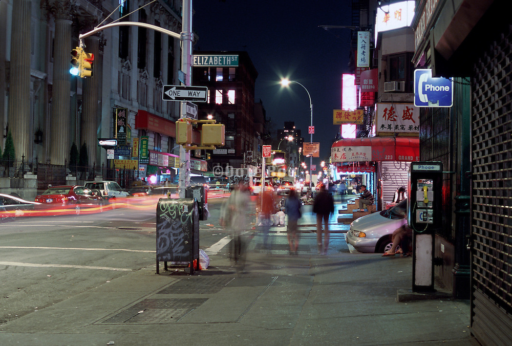 nocturnal Chinatown street scene New York City