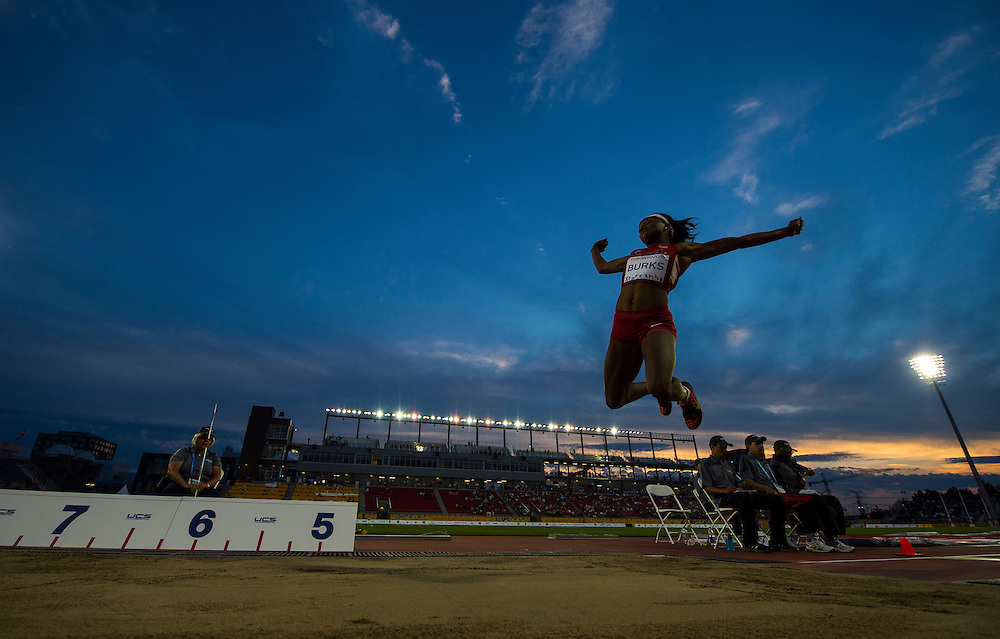 Women's Long Jump Final- Quanesha Burks-USA during athletics competition at the 2015 PanAm Games in Toronto.