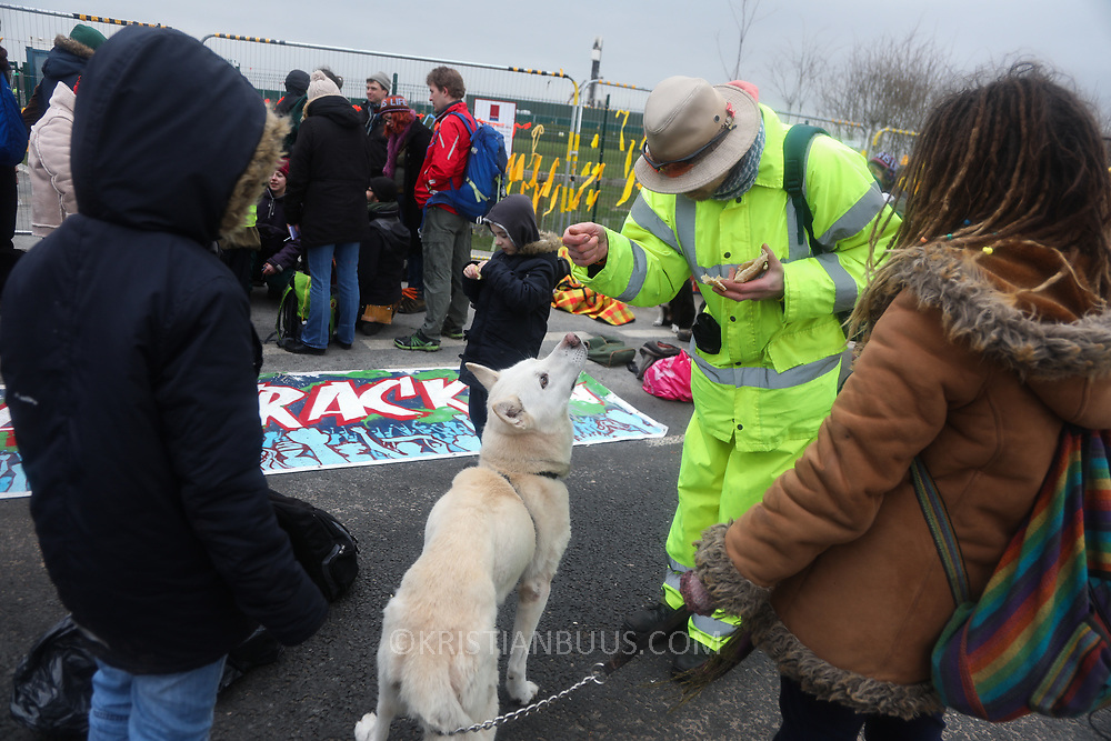 'Jig at the Rig', a festive protest at the gates of the drilling company Cuadrilla's fracking site in New Preston Road, Lancashire. Cuadrilla started drilling for shale gas late 2017 but protest against the drilling has been going on for years. Lancshire council voted against giving permission to dril for gas but was over ruled by the UK Government and protesters have been at the gates since early 2017.
