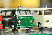 Volkswagen miniature vans in a toy shop in Prague Czech Republic