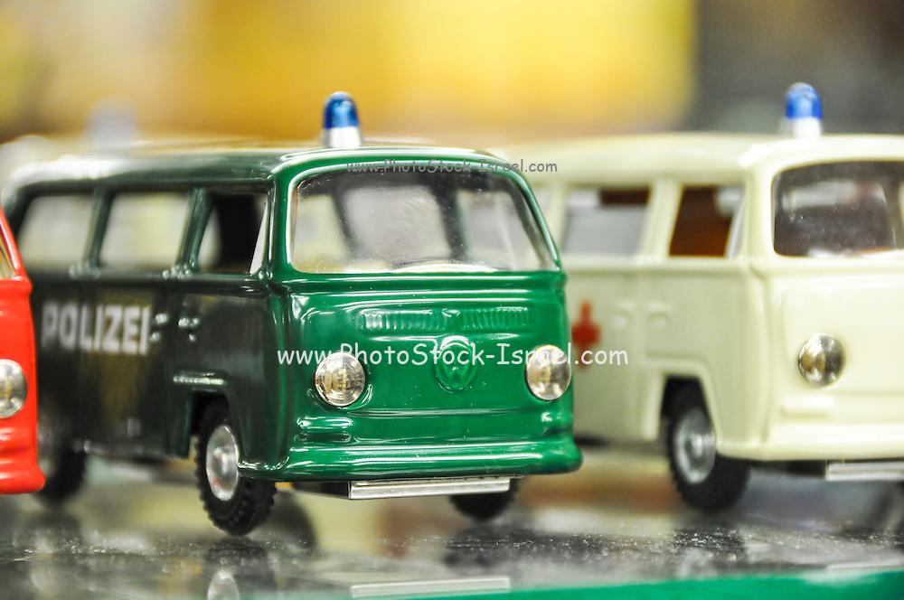 Volkswagen miniature vans in a toy shop in Prague Czech Republic