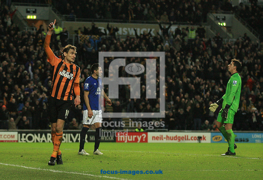Nikica Jelavic of Hull City celebrates his goal to make it 2-0 to Hull during the Barclays Premier League match at KC Stadium, Hull<br /> Picture by Richard Gould/Focus Images Ltd +44 7855 403186<br /> 01/01/2015