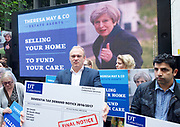 Sir Edward Davey LibDems candidate for Kingston leads a demonstration against Theresa May&rsquo;s Dementia Tax and call directly on the Prime Minister to outline the full details of her plans.<br /> Westminster , London, Great Britain <br /> 3rd June 2017 <br /> <br /> SELLING YOUR HOME TO FUND YOUR CARE DEMONSTRATION OUTSIDE CONSERVATIVES HQ<br /> <br /> <br /> Photograph by Elliott Franks <br /> Image licensed to Elliott Franks Photography Services