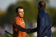 Francesco Molinari (Ita) and Tiger Woods (Usa) during the saturday afternoon foursomes session of Ryder Cup 2018, at Golf National in Saint-Quentin-en-Yvelines, France, September 29, 2018 - Photo Philippe Millereau / KMSP / ProSportsImages / DPPI