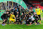 The players celebrate winning the Carabao Trophy and group together for a photo during the Carabao Cup Final match between Aston Villa and Manchester City at Wembley Stadium, London, England on 1 March 2020.