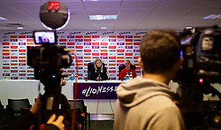 SOUTHAMPTON, ENGLAND - Thursday, April 5, 2018: Wales' manager Jayne Ludlow and captain Sophie Ingle during a press conference at St. Mary's Stadium ahead of the FIFA Women's World Cup 2019 Qualifying Round Group 1 match against England. (Pic by David Rawcliffe/Propaganda)