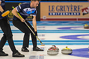 "Glasgow. SCOTLAND.   ""Sweeping"", The Scotland Red ""Stone"" hones in on the Finnish, stationrly Yellow ""Stone"",  ""Round Robin"" Game. Le Gruyère European Curling Championships. 2016 Venue, Braehead  Scotland<br /> Tuesday  22/11/2016<br /> <br /> [Mandatory Credit; Peter Spurrier/Intersport-images]"