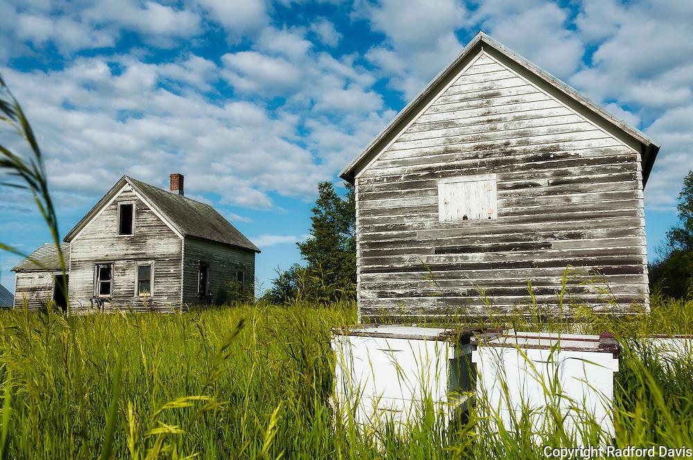 Abandoned house, South Dakota. Bee houses nearby.