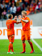 NETHERLANDS, Amsterdam In action Wesley Sneijder leaves the pitch,  with Dirk Kuyt  (r)Northern Irland during friendly soccer match between Netherlands vs Northern Irland in Rotterdam on June 2, 2012. AFP PHOTO/ ROBIN UTRECHT