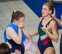 Italy's Elena Bertocchi (right) and Chiara Pellacani celebrate after winning gold in the Women's Synchronised 3m Springboard Final during day eleven of the 2018 European Championships at the Royal Commonwealth Pool, Edinburgh.