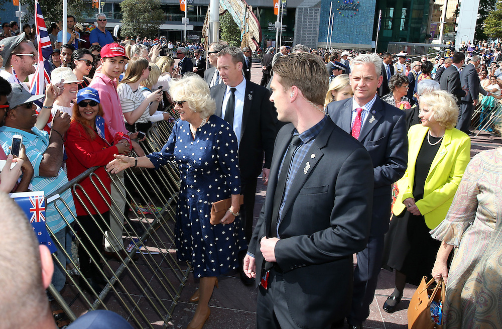 Camilla, Duchess of Cornwall greets fans during a walk around Aotea Square, Auckland, New Zealand, Sunday, November 08, 2015. Credit:SNPA /  Michael Bradley, AFP  *POOL**