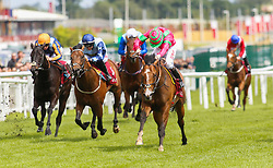Visionary ridden by Jamie Spencer (right) wins The Shalaa Carnarvon Stakes run during Al Shaqab Lockinge Day at Newbury Racecourse.