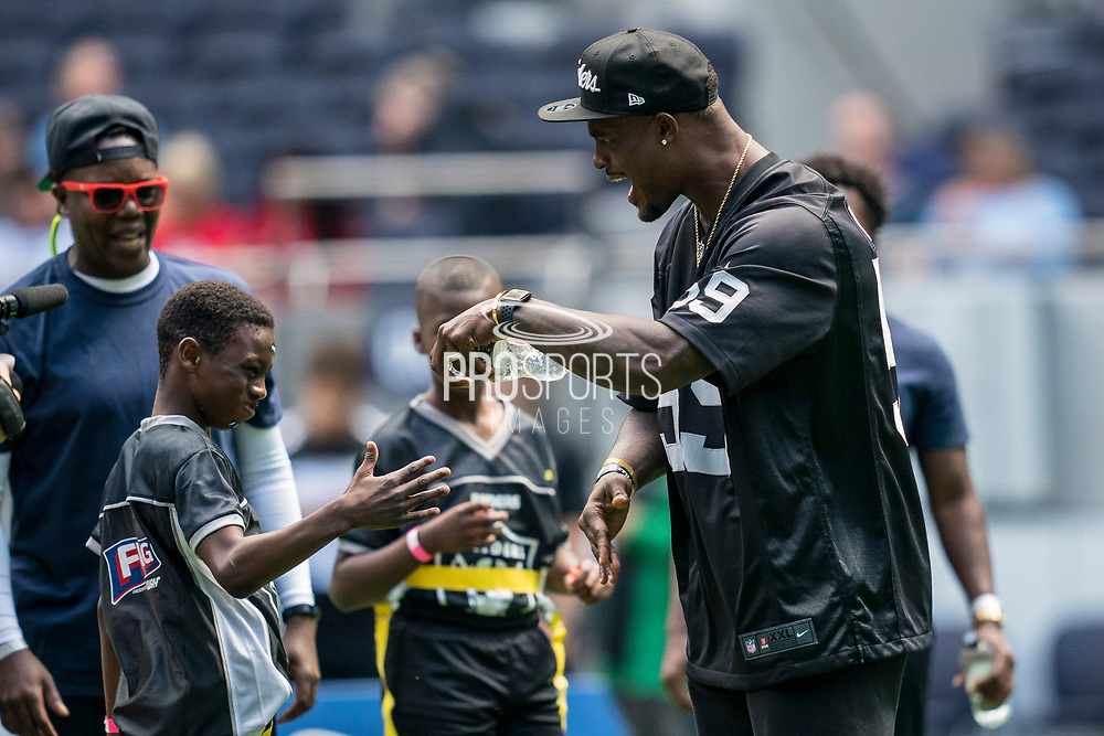Tahir Whitehead (LB, Oakland Raiders) talks to his team during the NFL UK Media Day at Tottenham Hotspur Stadium, London, United Kingdom on 3 July 2019.