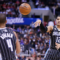 06 January 2014: Orlando Magic small forward Tobias Harris (12) passes the ball to Orlando Magic shooting guard Arron Afflalo (4) during the Los Angeles Clippers 101-81 victory over the Orlando Magic at the Staples Center, Los Angeles, California, USA.