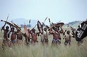 Zulus prepare for the battle. South Africa. Kwa Zulu Natal. Isandlwana..©Zute Lightfoot .DVD0018