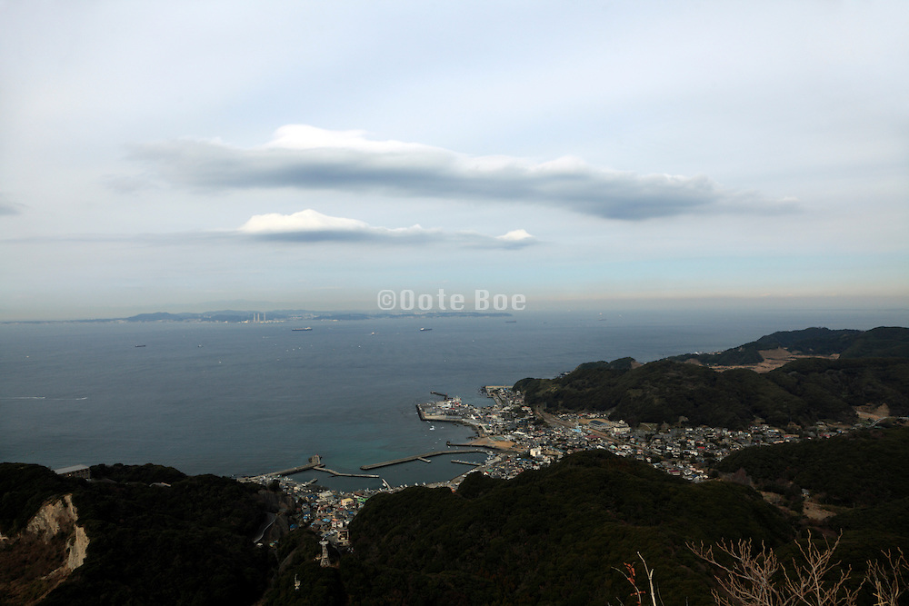 entrance to Tokyo bay seen from Chiba prefecture Japan within the foreground Kanaya