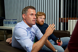 LIVERPOOL, ENGLAND - Friday, September 9, 2016: Former Liverpool player Jamie Carragher and author Simon Hughes during the launch of Ring of Fire - Liverpool FC into the 21st century the players' story at Mountford Hall. (Pic by David Rawcliffe/Propaganda)