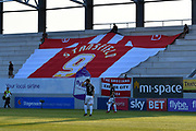 A huge Exeter City shirt with Stansfield and a no.9 on it draped across the under construction Stagecoach family stand during the EFL Sky Bet League 2 match between Exeter City and Lincoln City at St James' Park, Exeter, England on 17 May 2018. Picture by Graham Hunt.