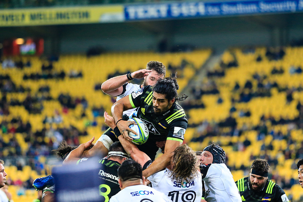 Michael Fatialofa in the line out during the Super Rugby union game between Hurricanes and Sunwolves, played at Westpac Stadium, Wellington, New Zealand on 27 April 2018.   Hurricanes won 43-15.