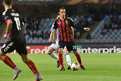 November 2, 2017 - San Sebastian, Gipuzkoa - Basque Country, Spain - Juan Felipe of FK Vardarduels for the ball with Igor Zubeldia of Real Sociedad during the UEFA Europa League Group L football match between Real Sociedad and FK Vardar at the Anoeta Stadium, on 2 November 2017 in San Sebastian, Spain  (Credit Image: © Jose Ignacio Unanue/NurPhoto via ZUMA Press)