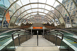 Glasgow, Scotland, UK. 1 April, 2020. Effects of Coronavirus lockdown on Glasgow life, Scotland. Entrance to St Enoch subway station is deserted.